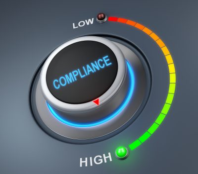 compliance button position. Concept image for illustration of compliance in the highest position , 3d rendering